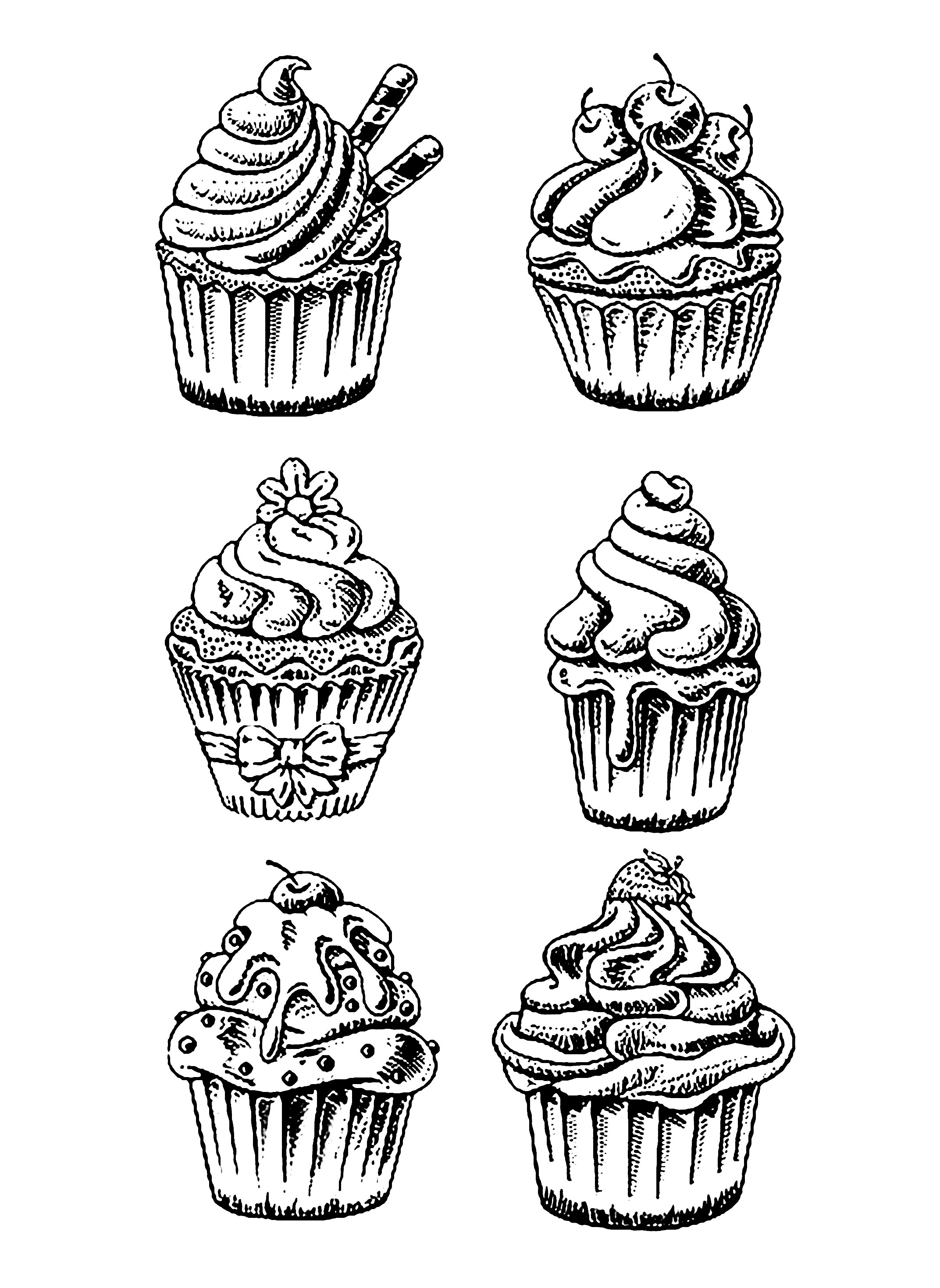 six good cupcakes cup cakes coloring pages for adults justcolor