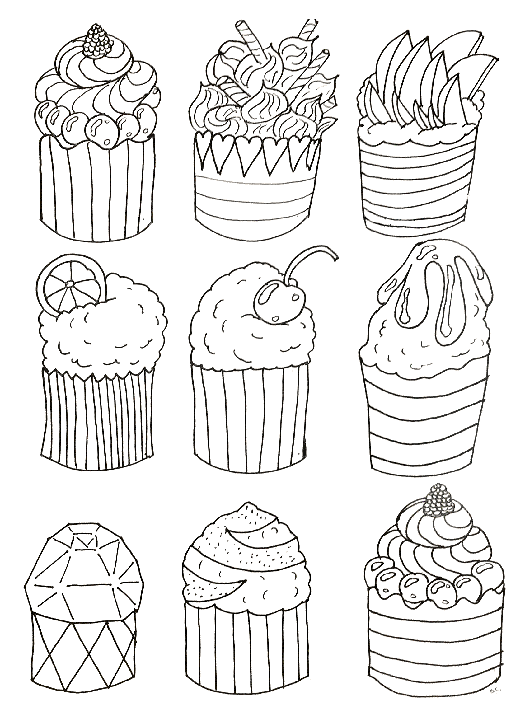 Simple cupcakes Cupcakes Adult Coloring Pages