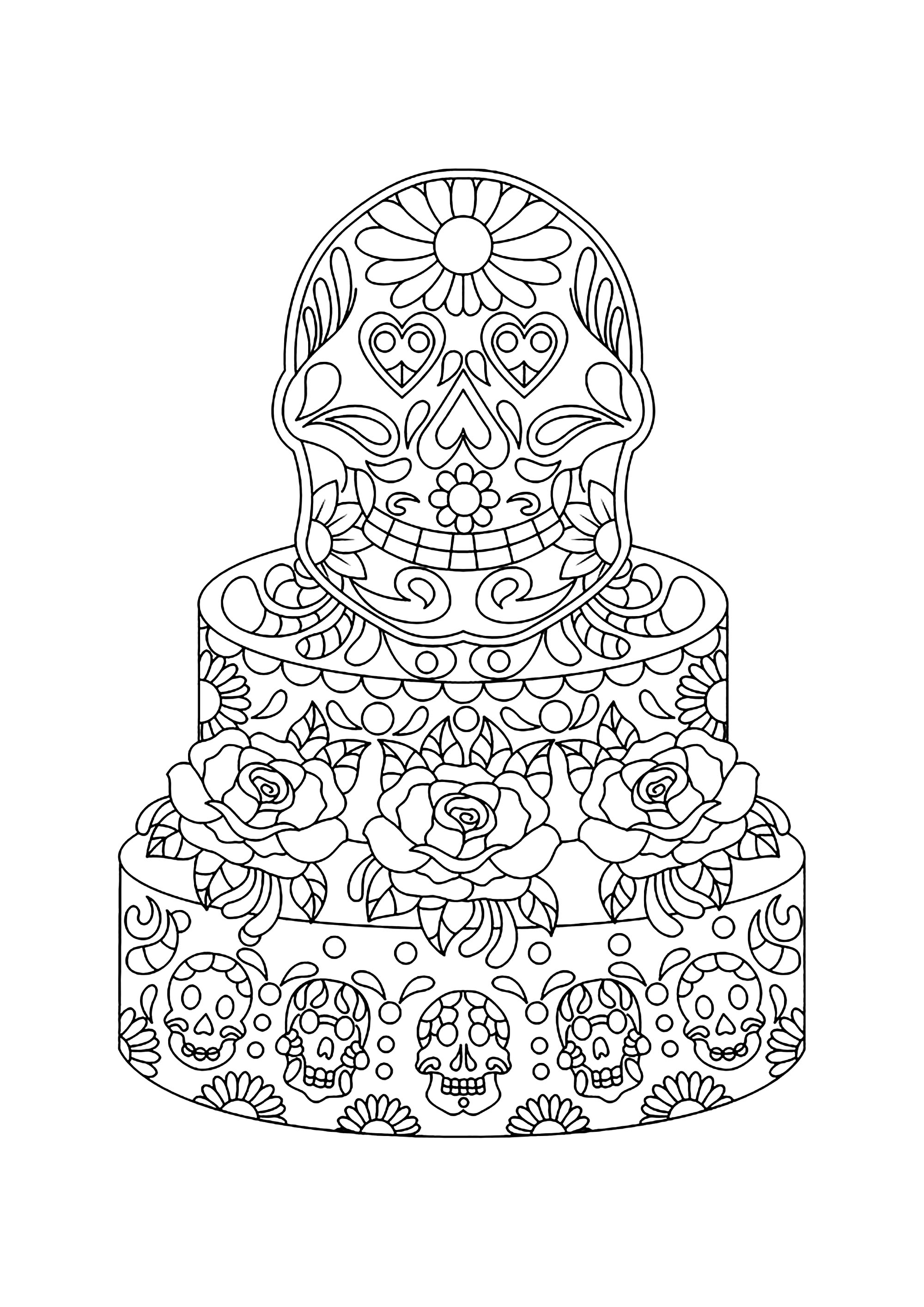 Mexican Cake Cupcakes Adult Coloring Pages