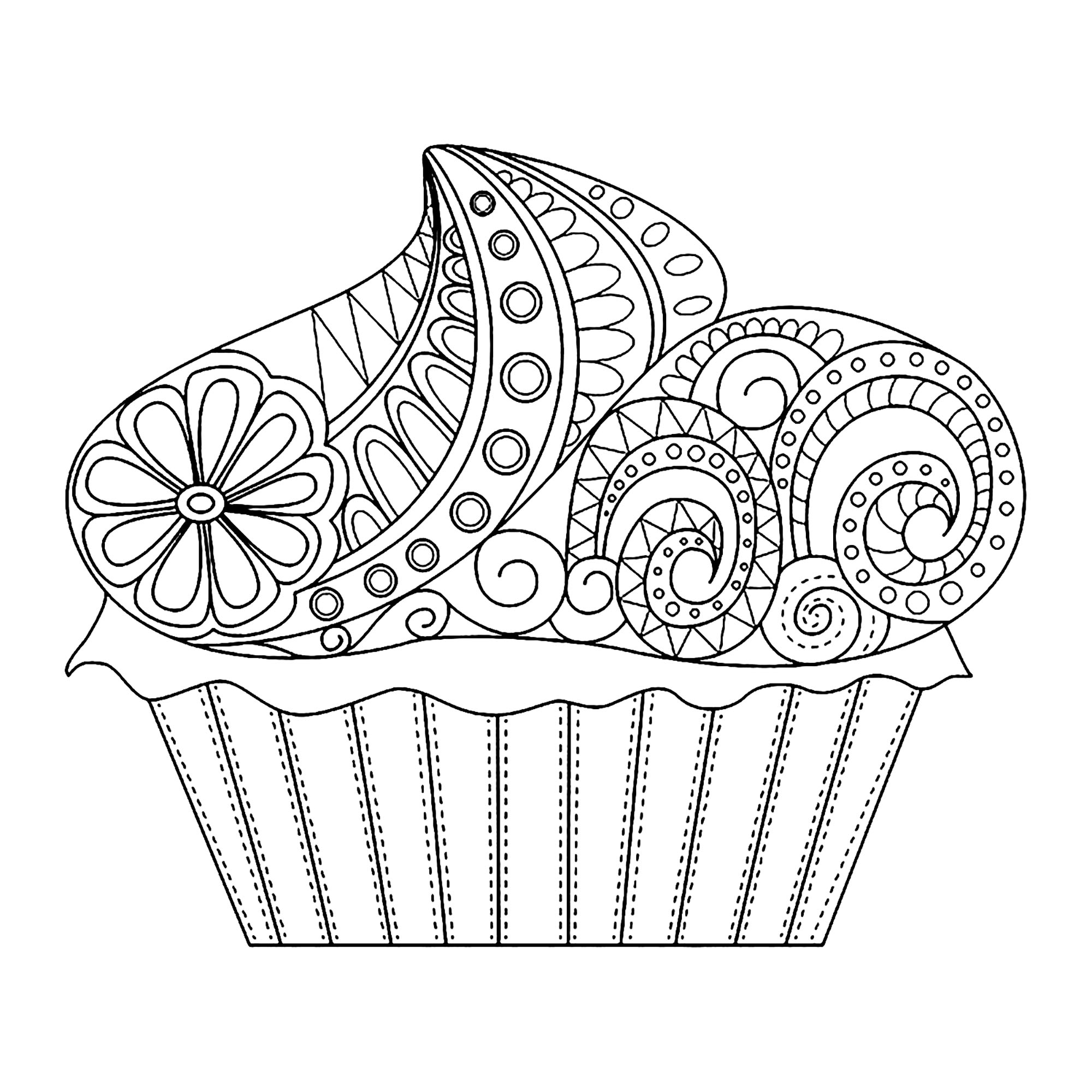 Flowery Cupcake Cupcakes Adult Coloring Pages
