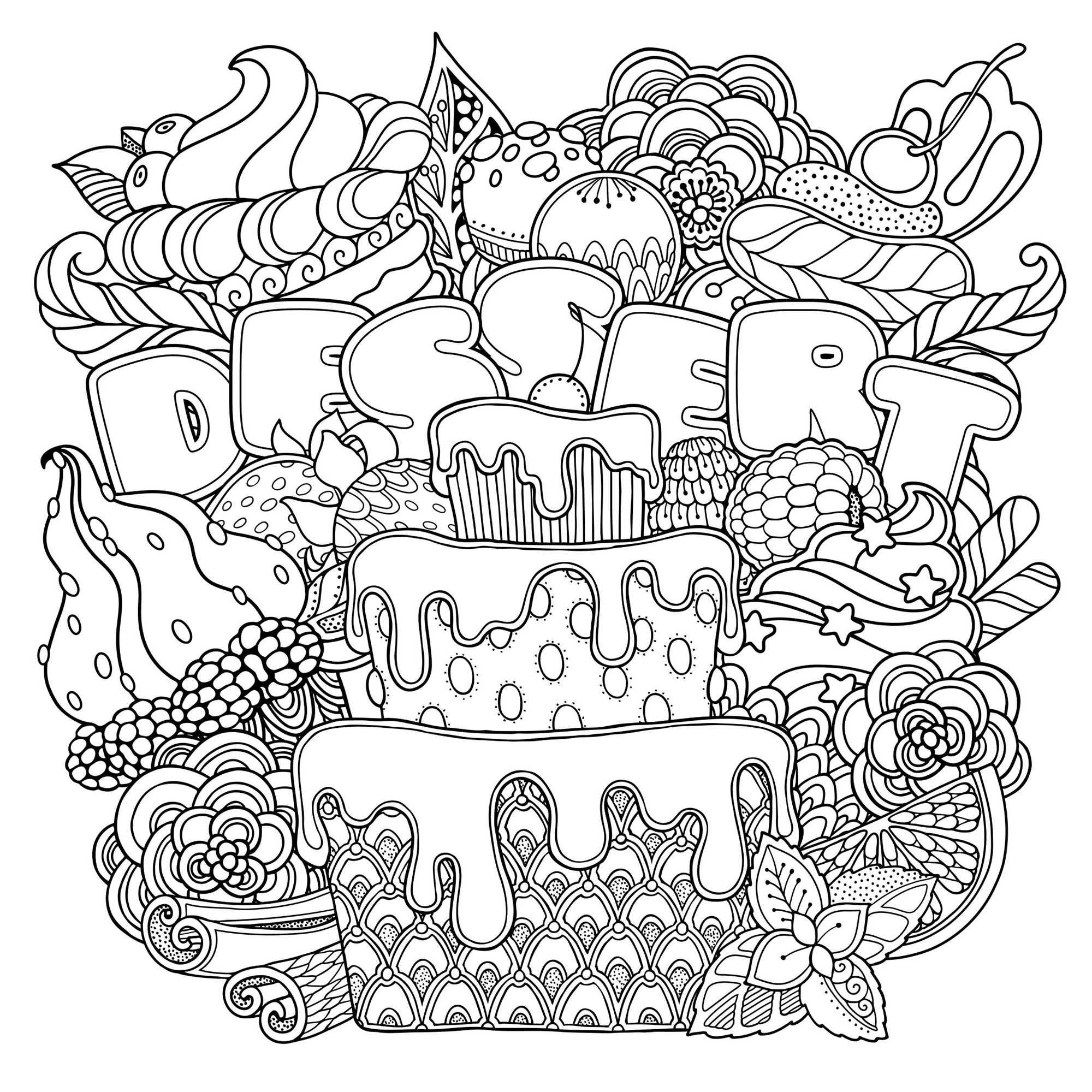 Mix Of Desserts Cupcakes Adult Coloring Pages