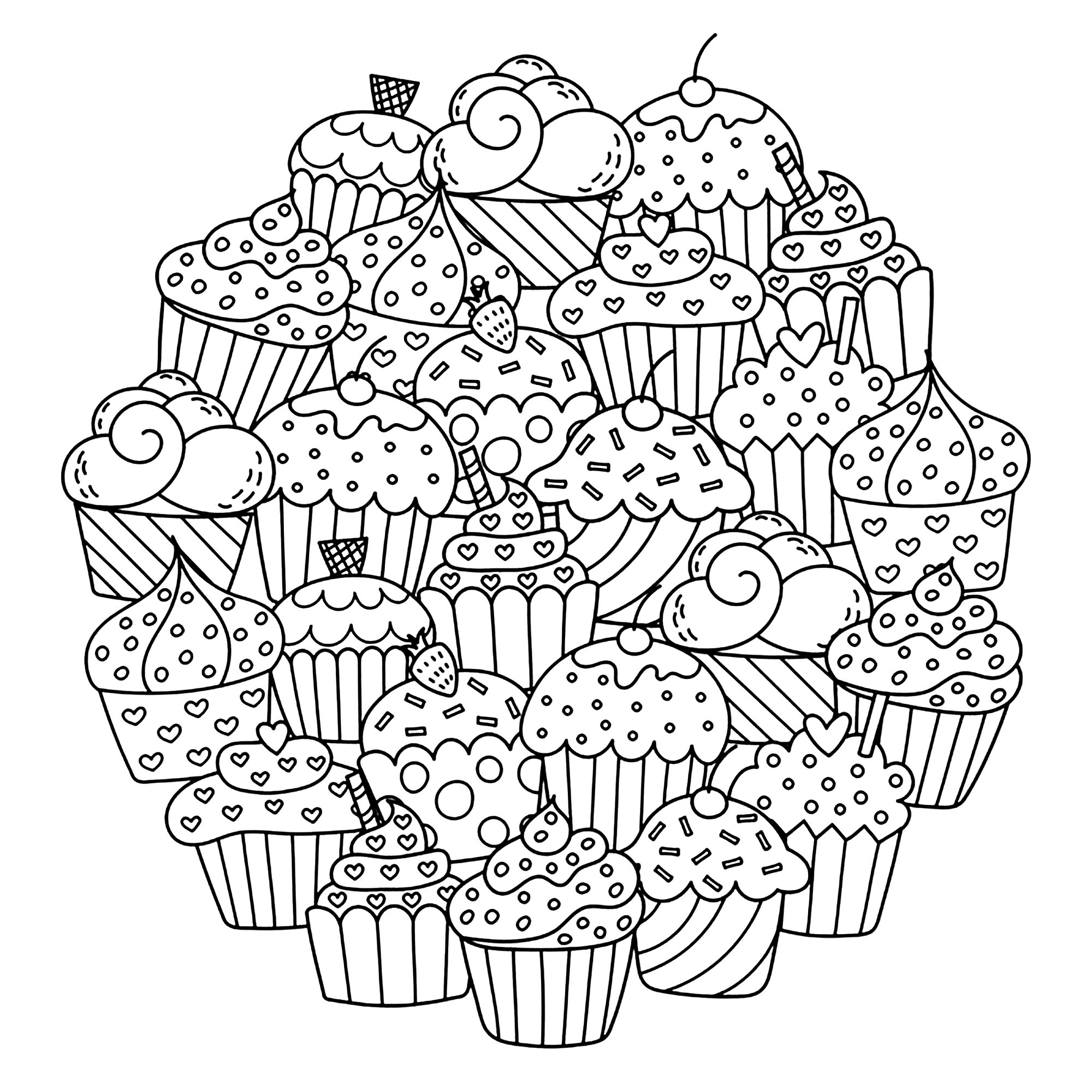 Those cute cakes are making a perfect circle to make you want to color them !
