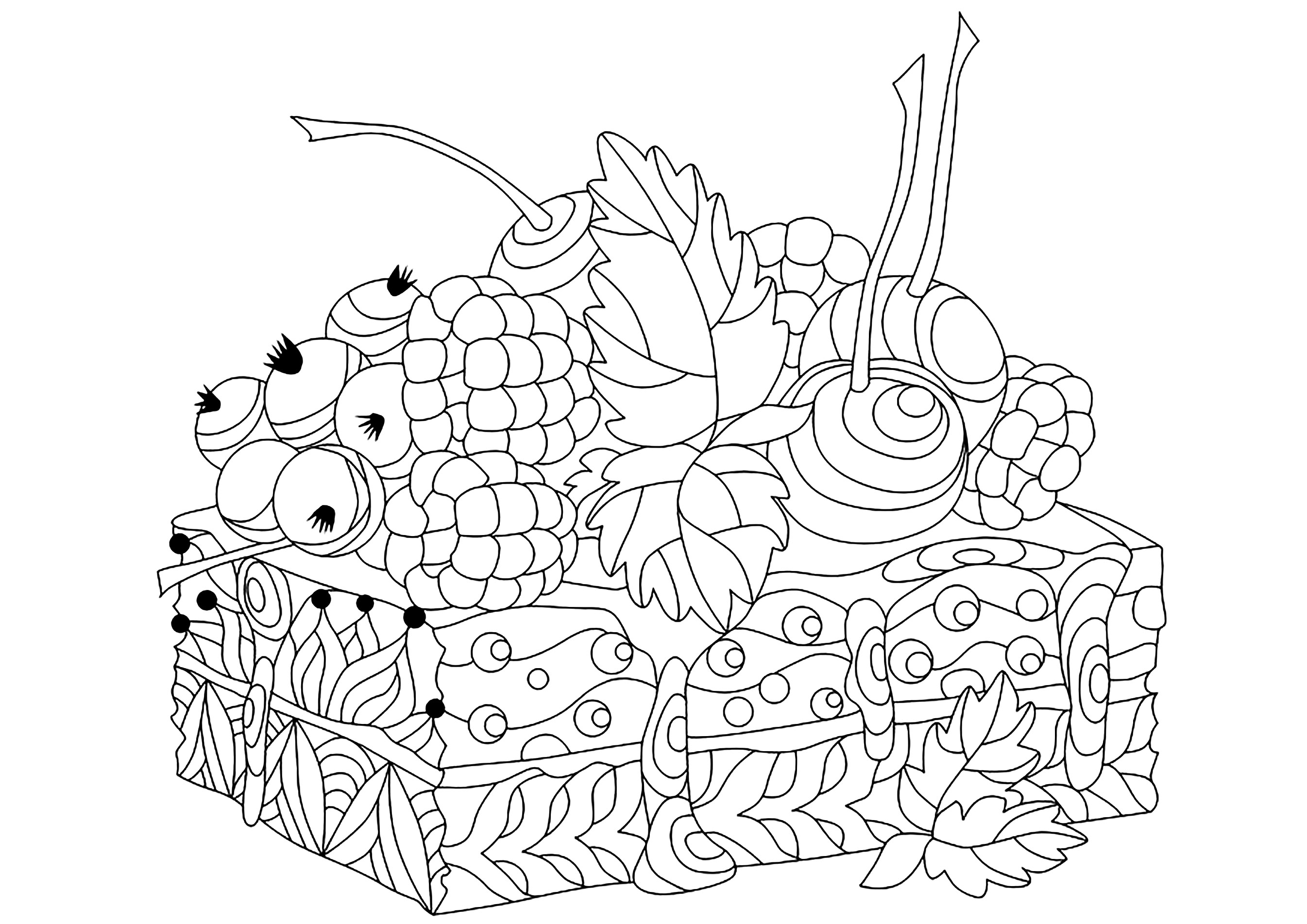 Piece Of Cake Cupcakes Adult Coloring Pages