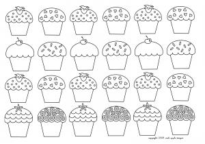 Coloring mosaique cupcakes enfantins