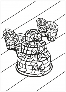Cupcakes and cakes Coloring Pages