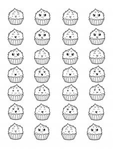coloring kawai cup cakes