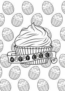 Coloring page adult easter egg muffin by allan.