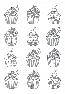 Coloring page adults cupcakes easy Celine