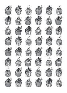 Coloring-page-adults-cupcakes-hard-Celine free to print