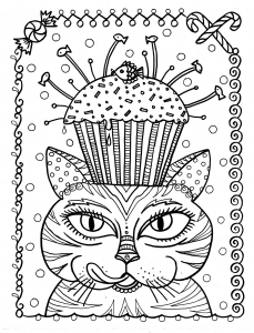 coloring-page-cup-cake-cat-by-deborah-muller free to print