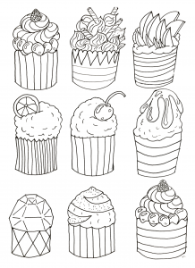 coloring-simple-cupcakes-by-olivier free to print