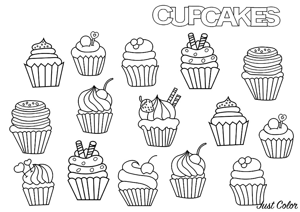 Cupcakes Doodle Cupcakes Adult Coloring Pages