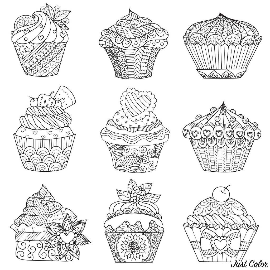 Nine cupcakes, to satisfy all the family and color together !