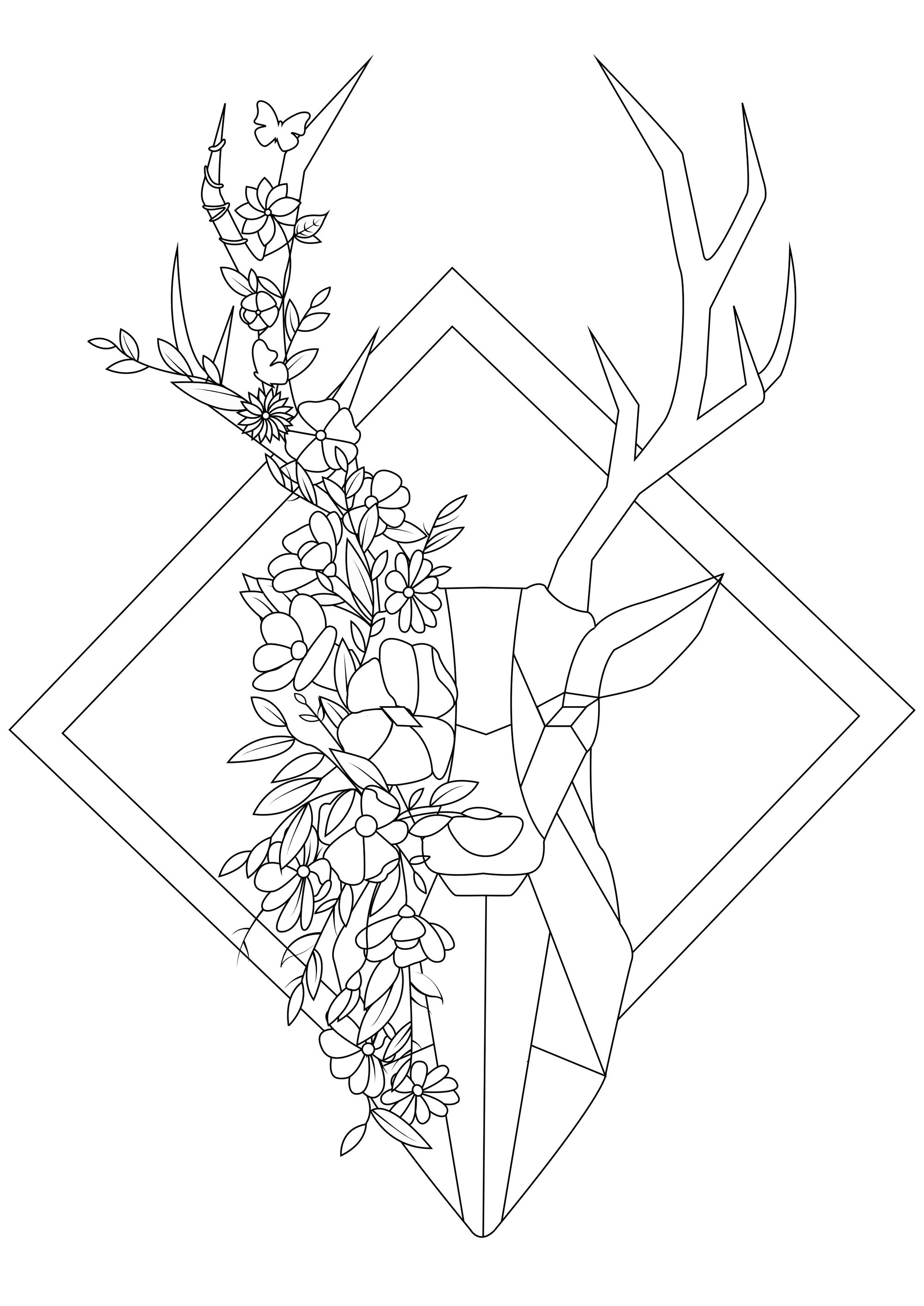 This geometrical coloring inspired by the origami style will be a pleasure to color.