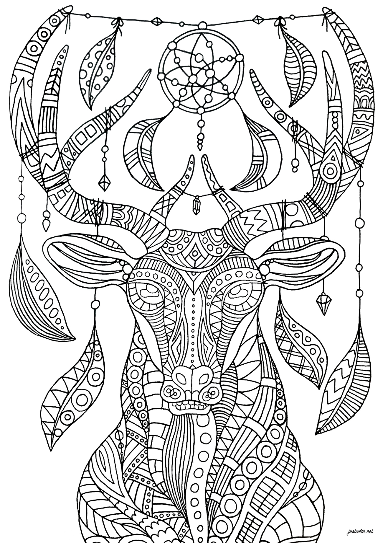 Color this deer with bohemian and relaxing ornaments - complex version