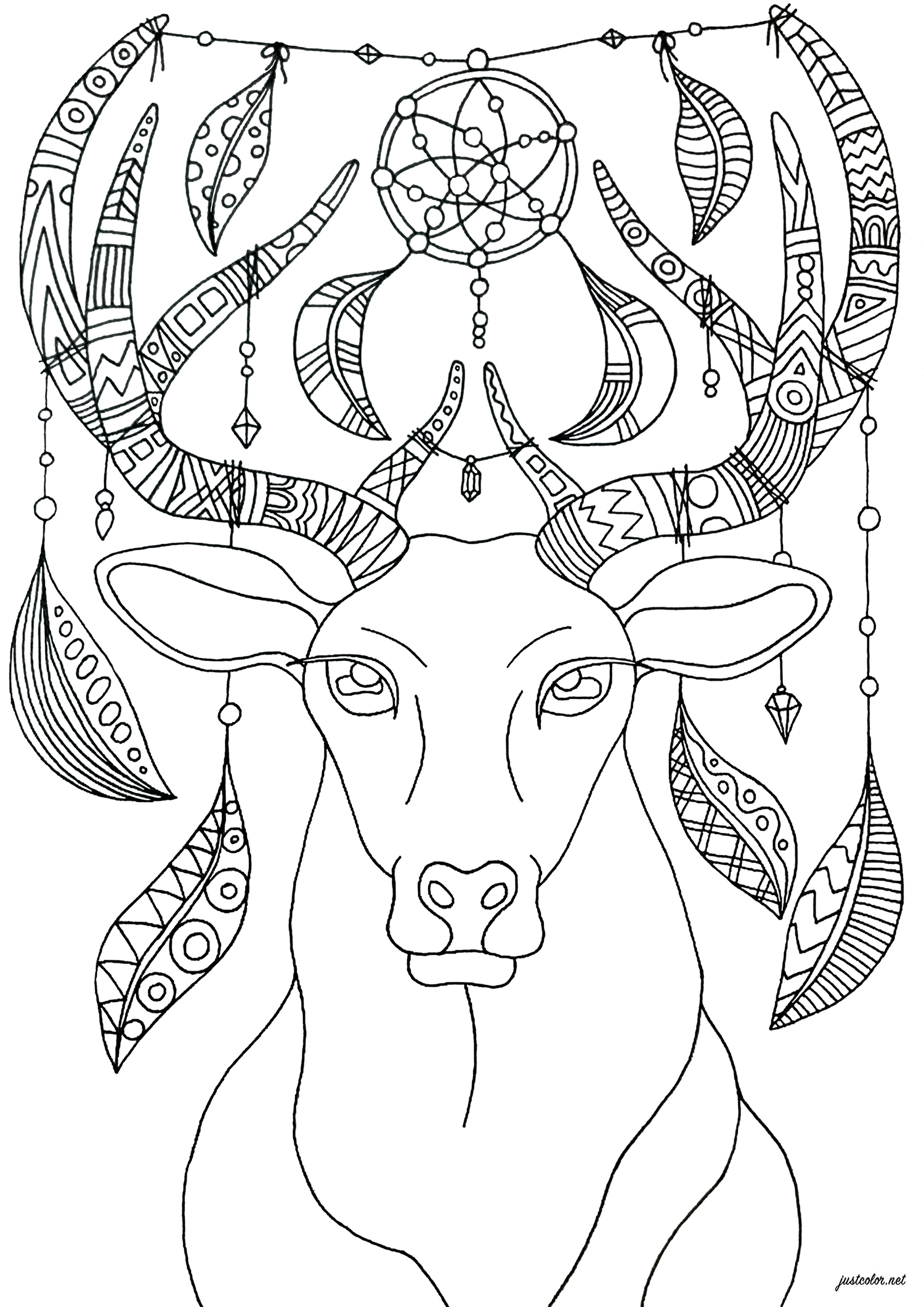 Color this deer with bohemian and relaxing ornaments - simple version