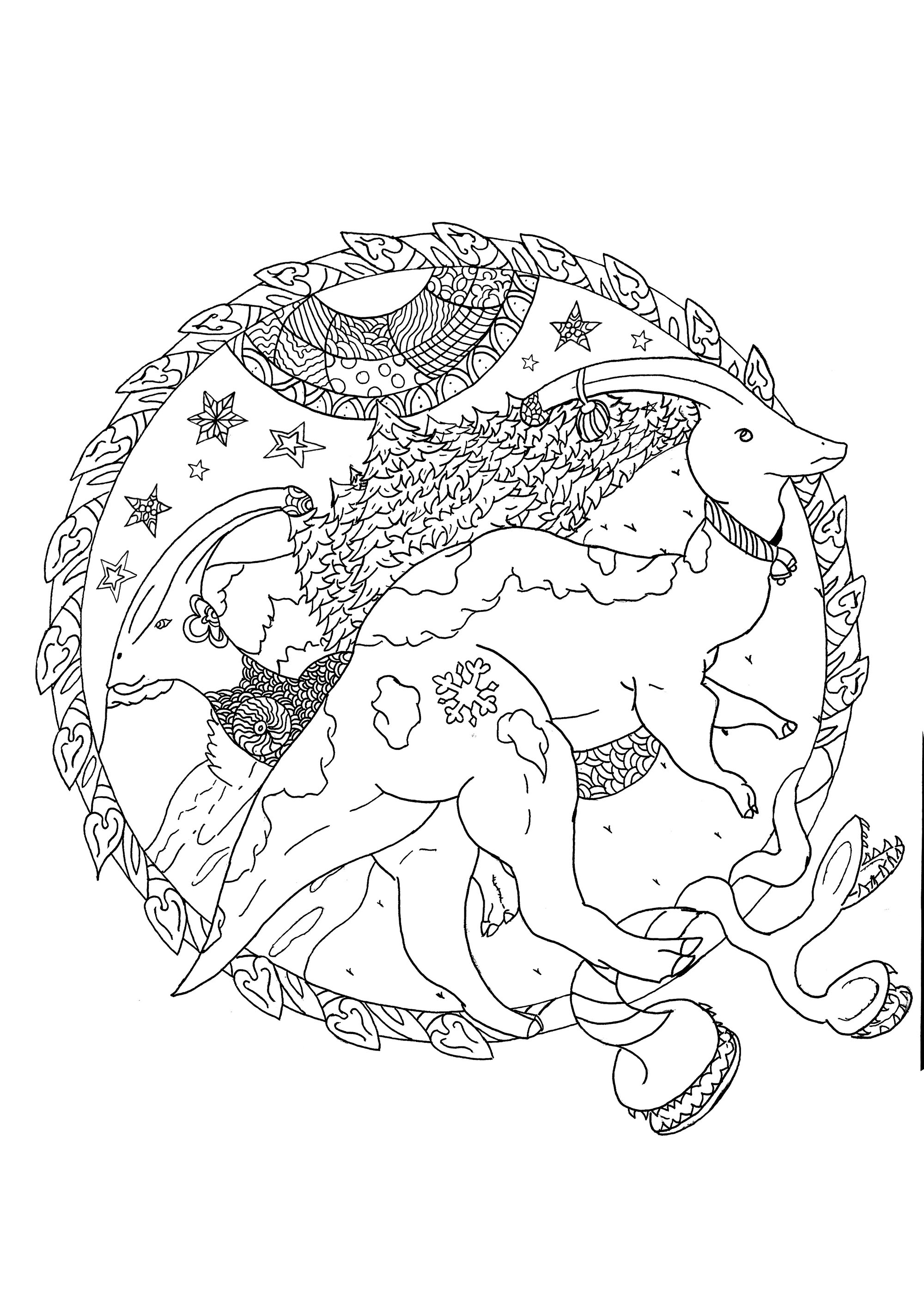 Two Parasaurolophus with pretty Christmas motifs