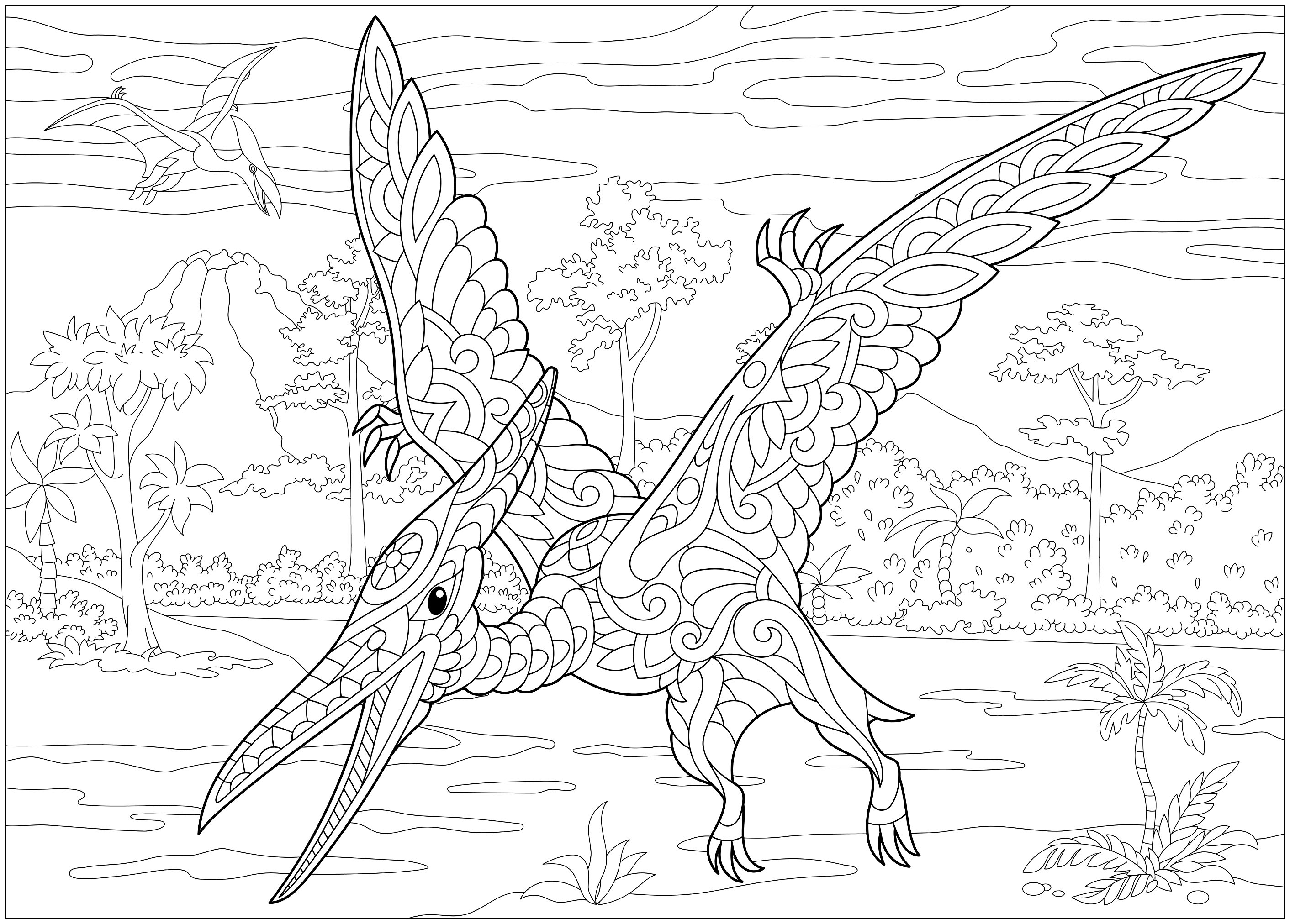 Pterodactyl the blog adult coloring pages - Mandala dinosaure ...