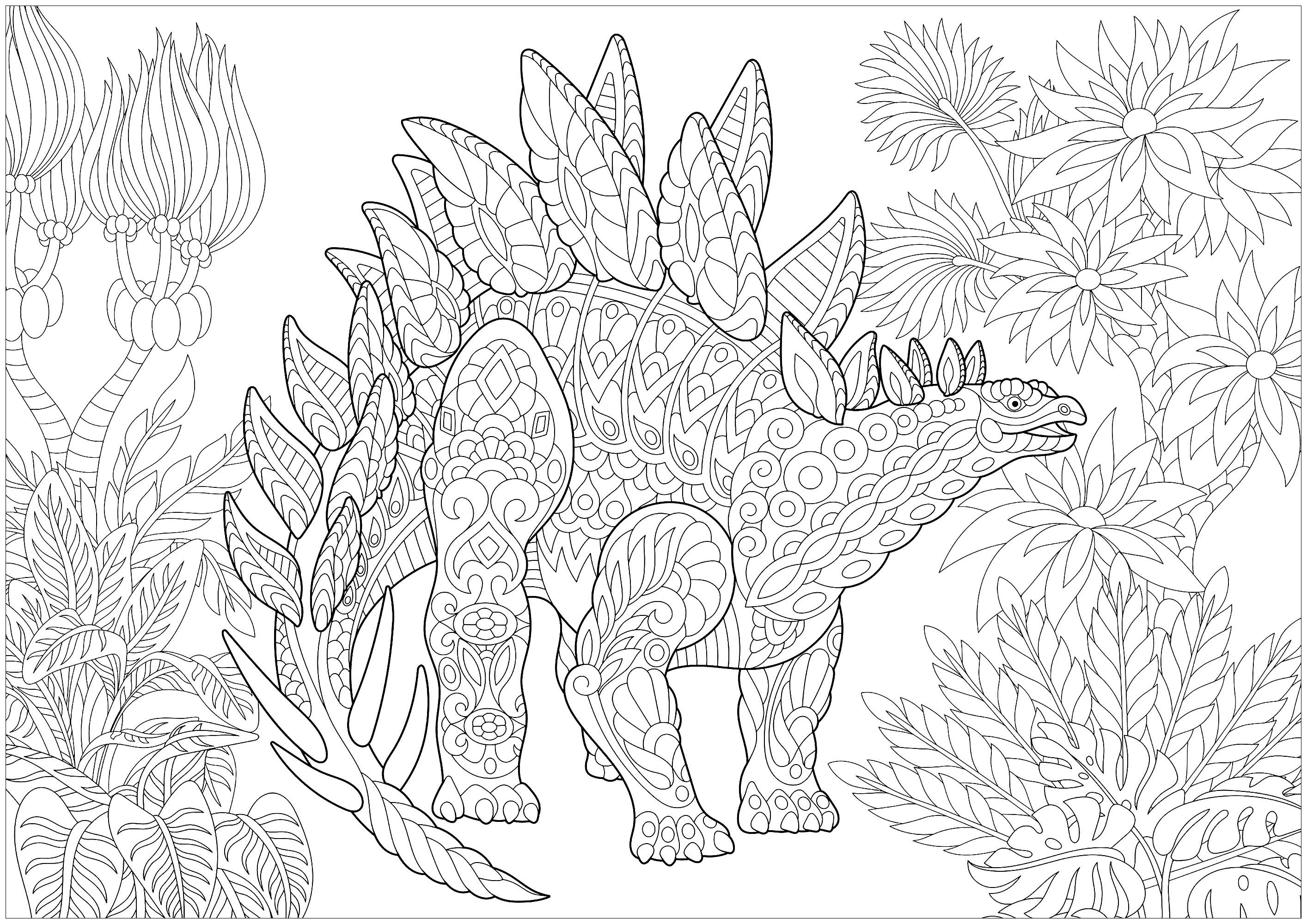 Stegosaurus Dinosaurs Adult Coloring Pages