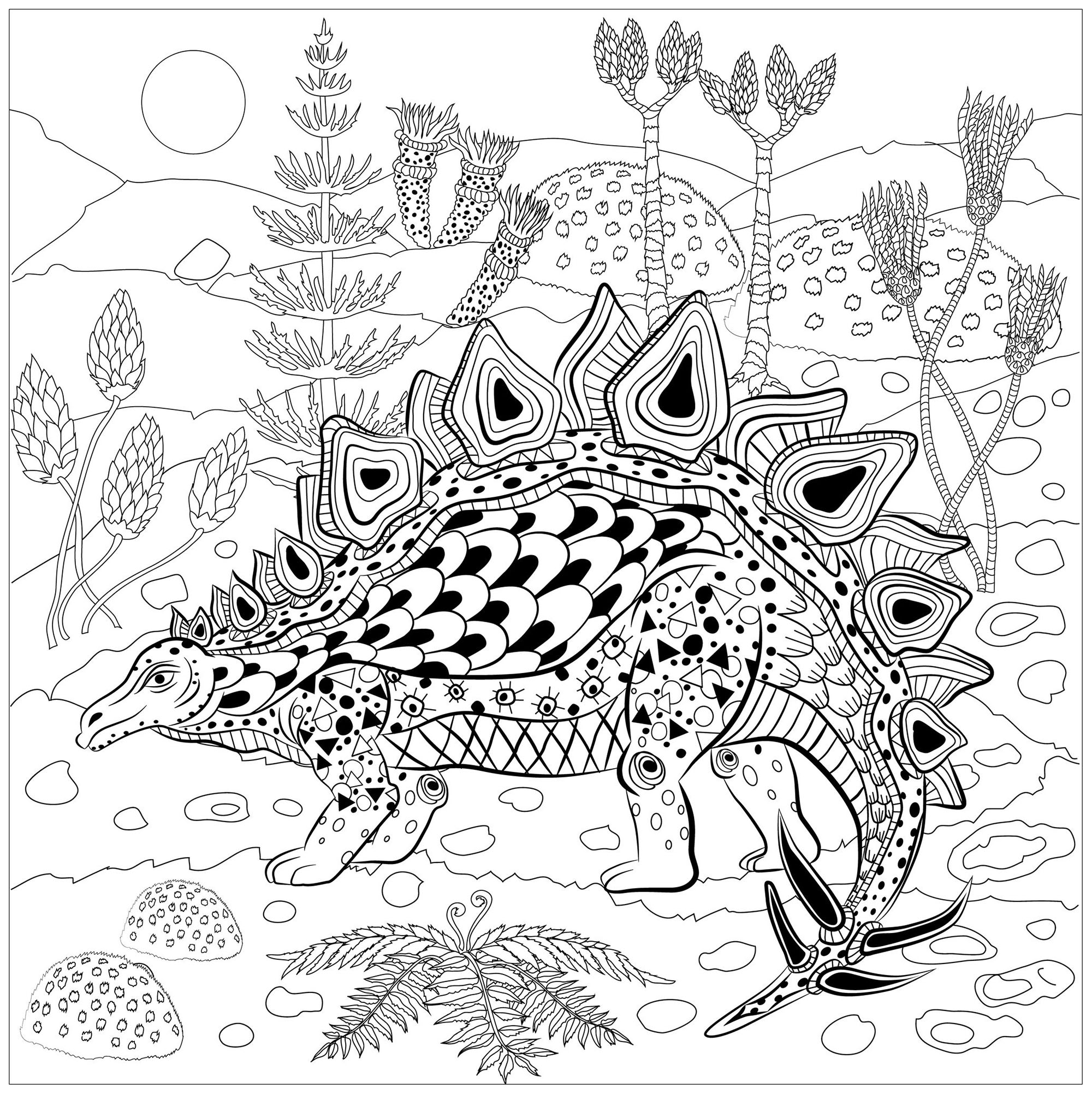 Stegosaurus In Nature - Dinosaurs Adult Coloring Pages