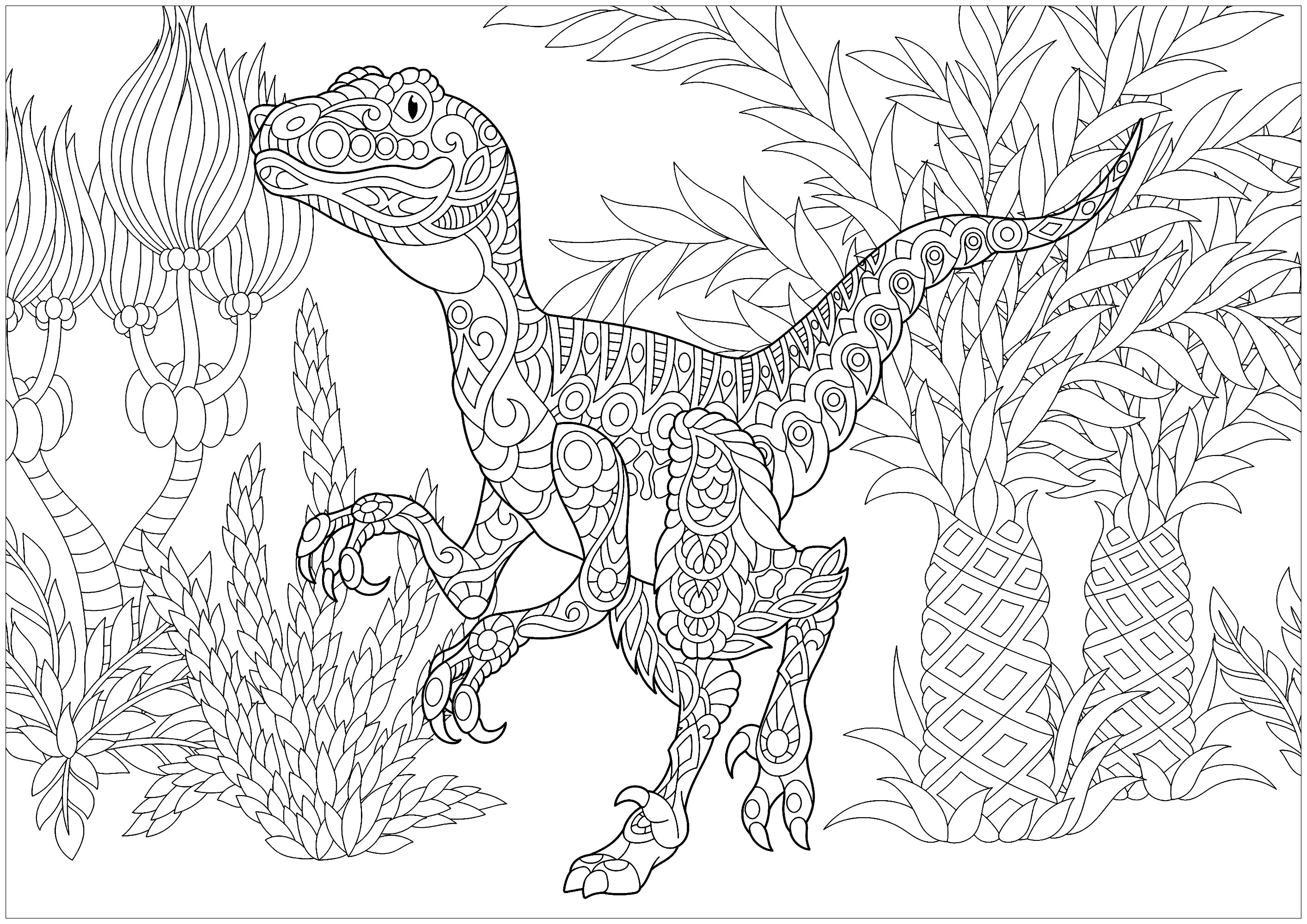 Velociraptor - Dinosaurs Adult Coloring Pages
