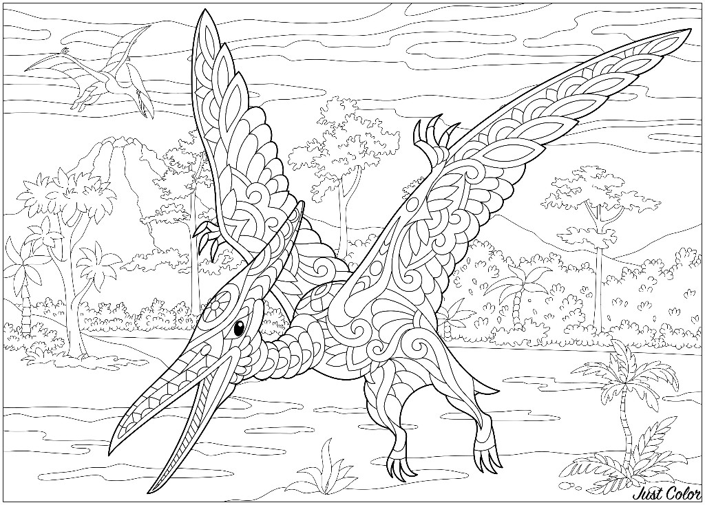 Stylized Pterodactyl dinosaur with doodle and zentangle elements
