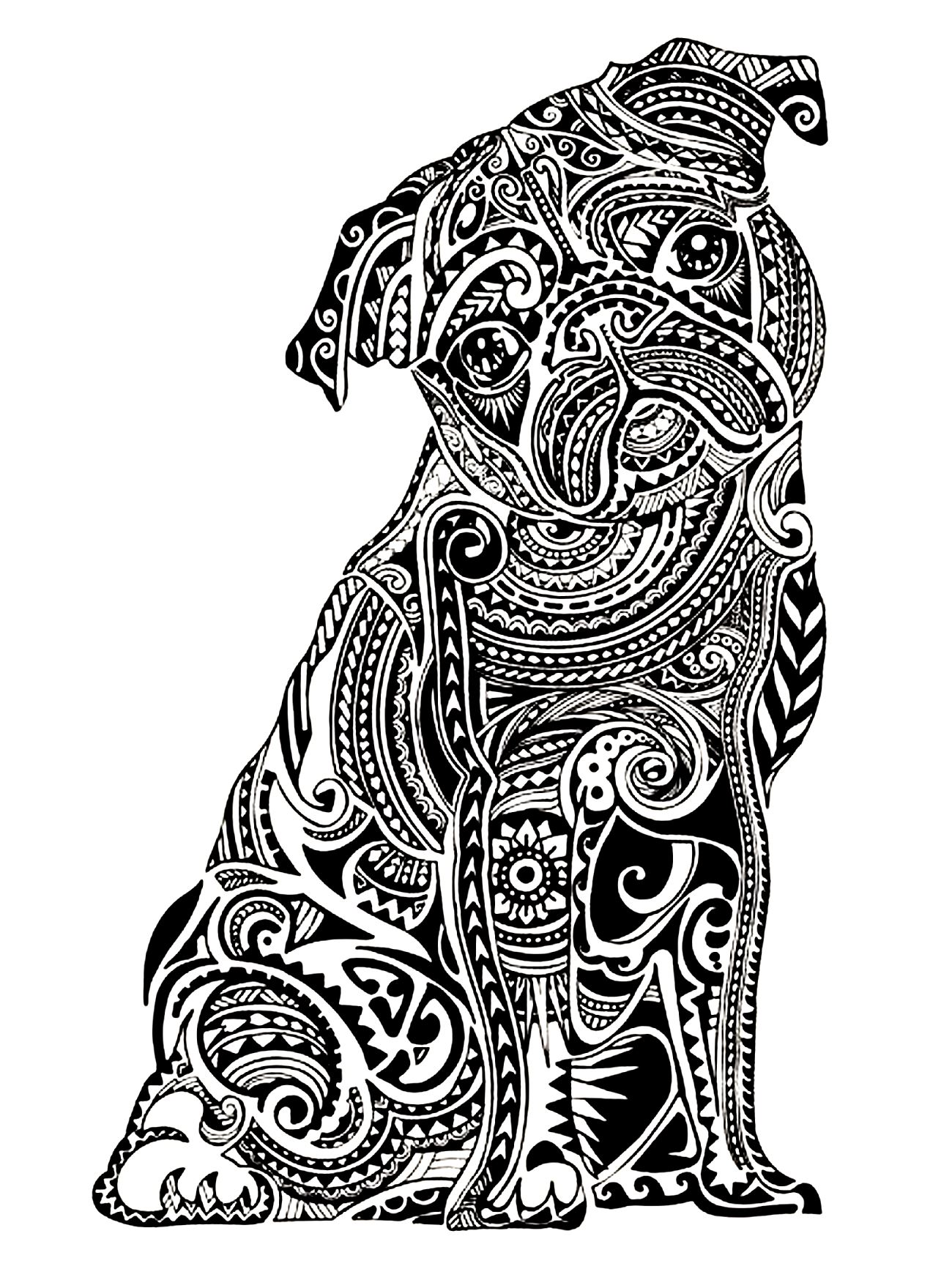 Complicated Elephant Coloring Pages. coloring adult difficult little buldog Dogs  Coloring pages for adults JustColor