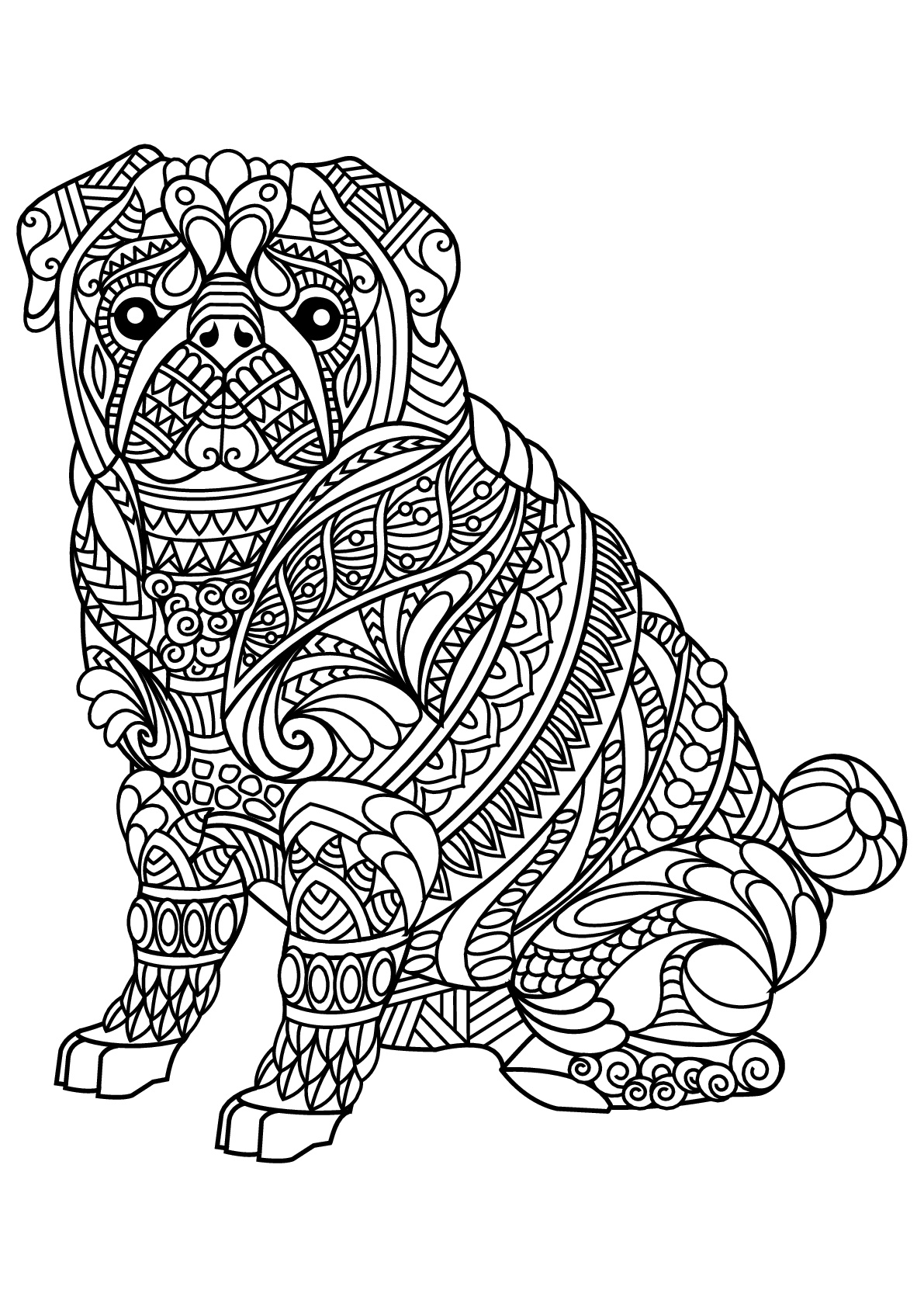 Coloring Page Free Book Dog Bulldog With Complex And Beautiful Patterns