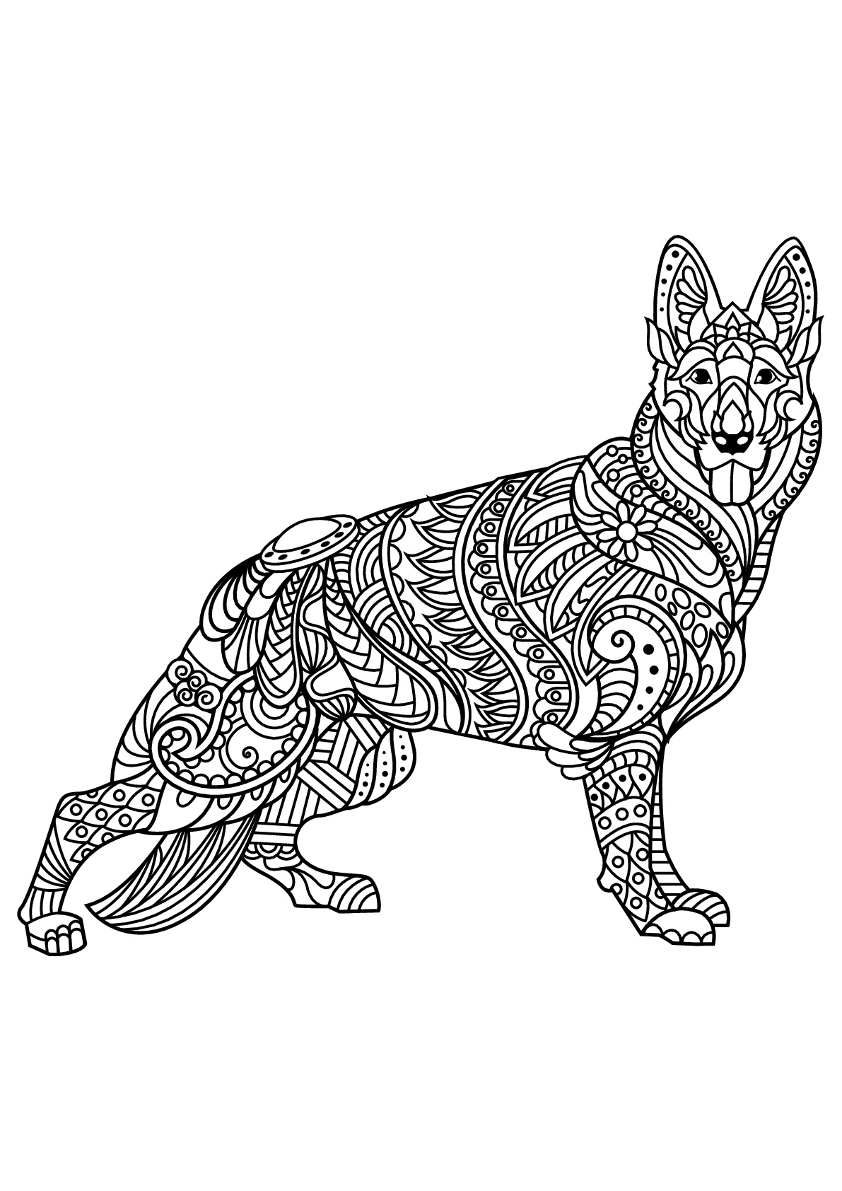 Free book dog german shepherd Dogs Adult Coloring Pages