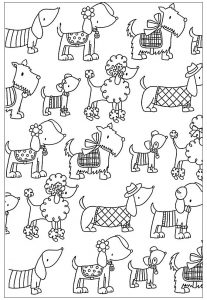 Coloring adult difficult dogs elegants