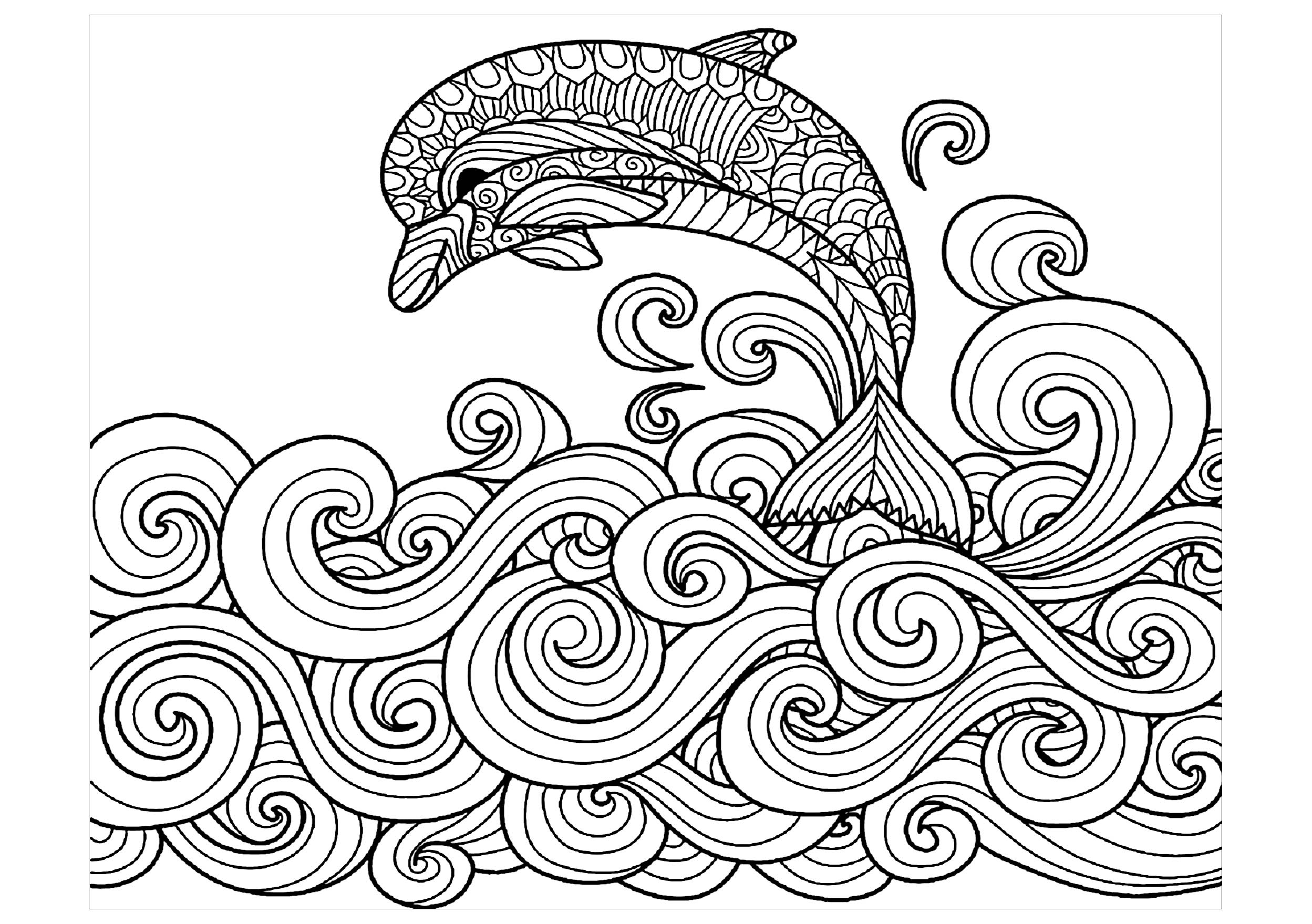 image relating to Dolphin Coloring Pages Printable identified as Dolphins - Coloring Web pages for Grown ups