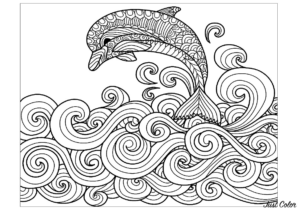Dolphin waves - Dolphins Adult Coloring Pages