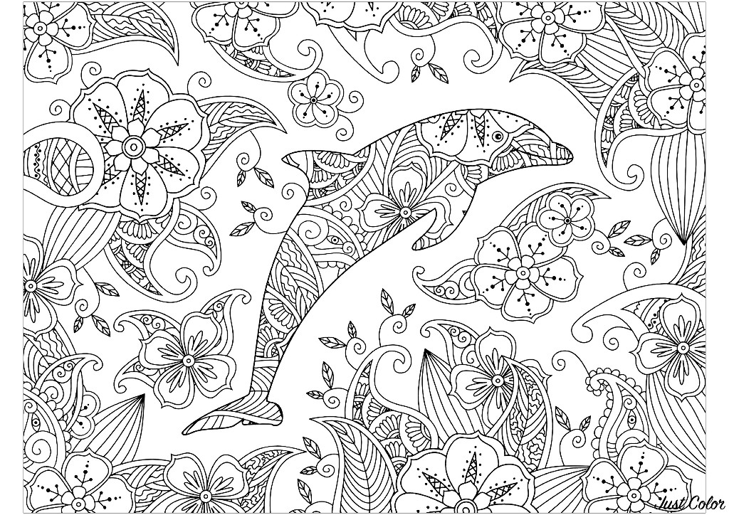 Coloring page of a dolphin on a wonderful floral background