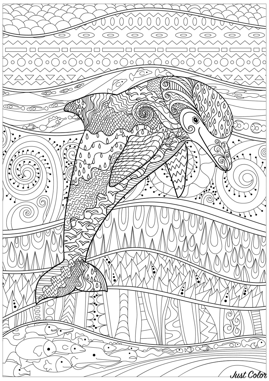 Dolphin in a calm sea, with fishes and lovely, abstract and complex patterns, inside and outside his body