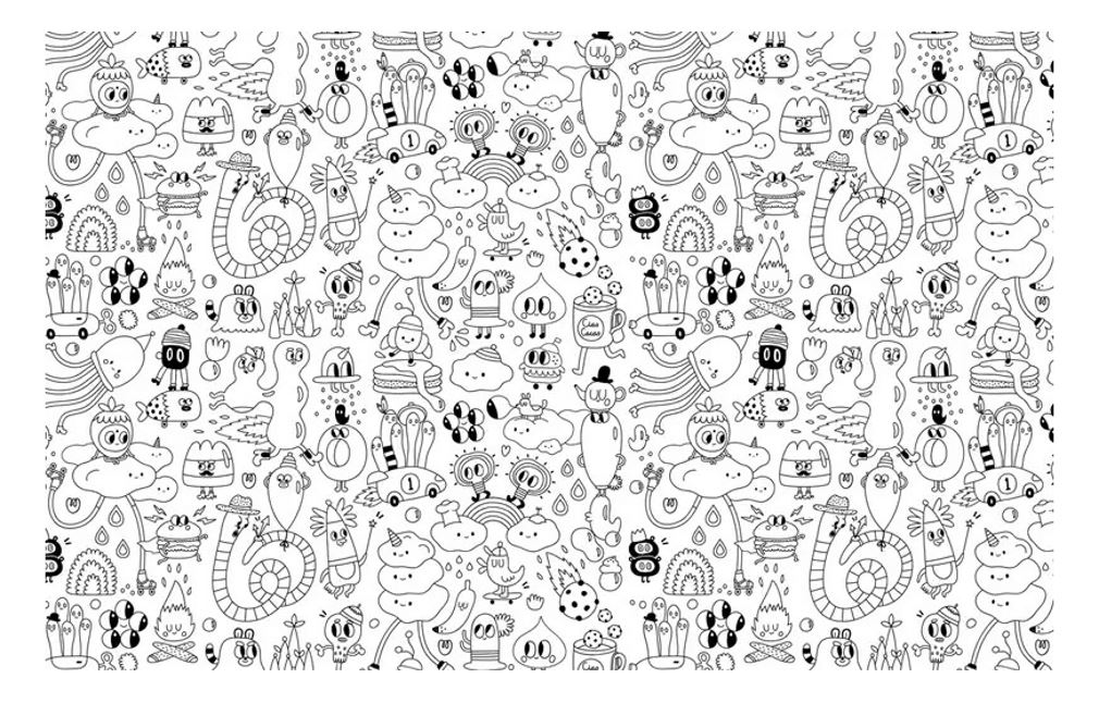 Simple coloring page made with doodle characters