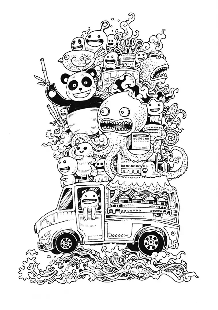 Funny Doode art with various animals & kawaii characters ON a car