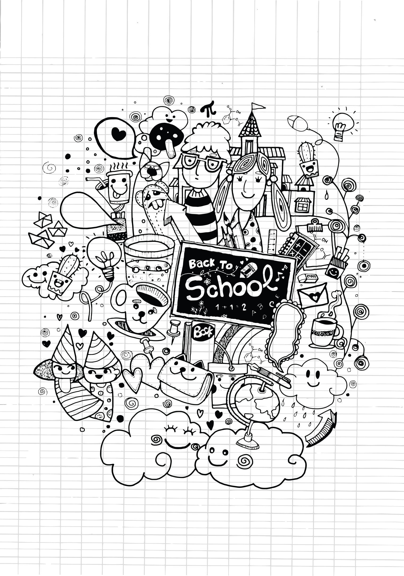 Back To  Coloring Coloring Page | Doodle Back To School Doodle Art Doodling Adult Coloring Pages