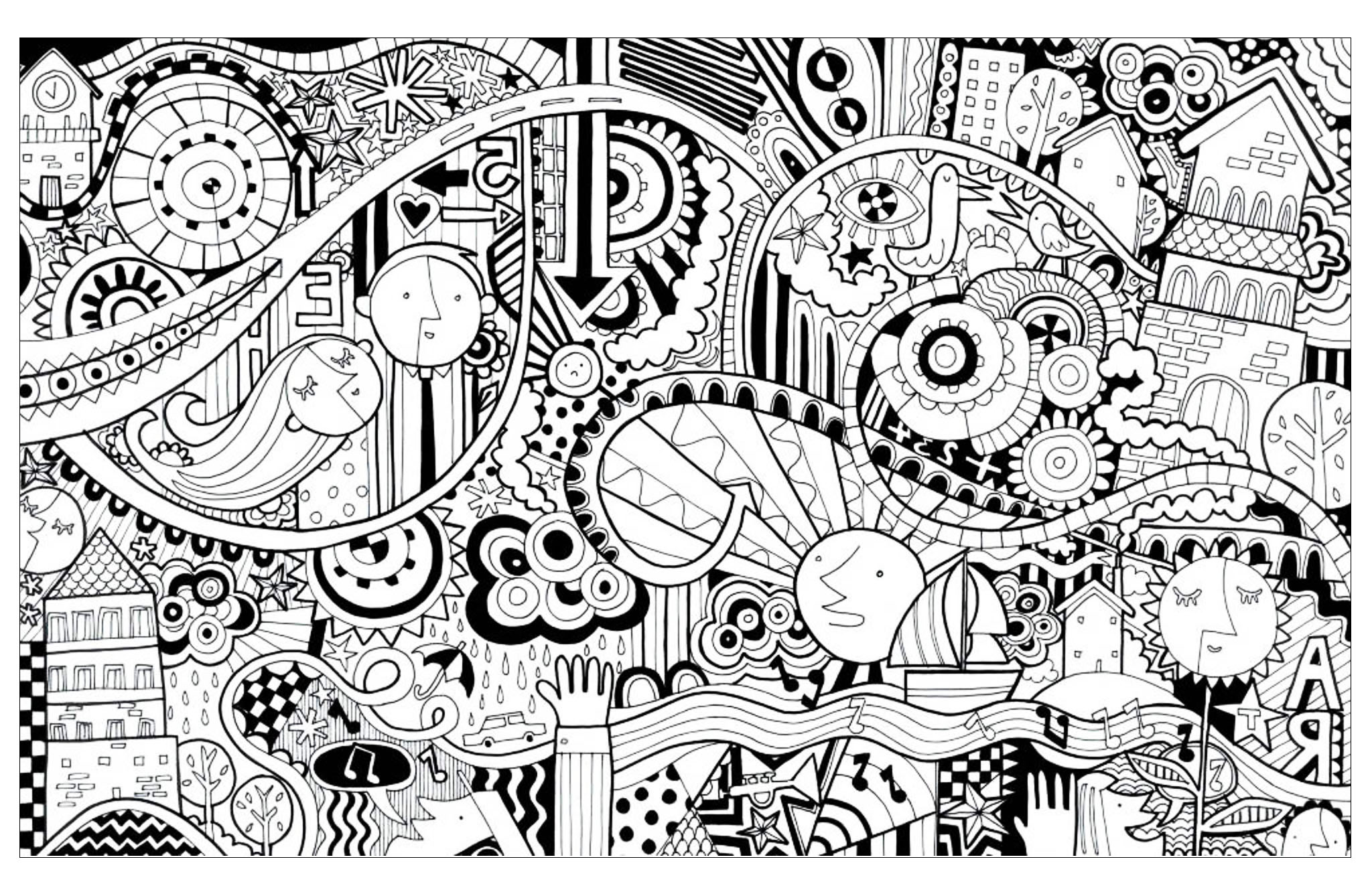 In this doodle drawing to color, you will find houses, boats, trees, strange faces ... and various abstract patterns