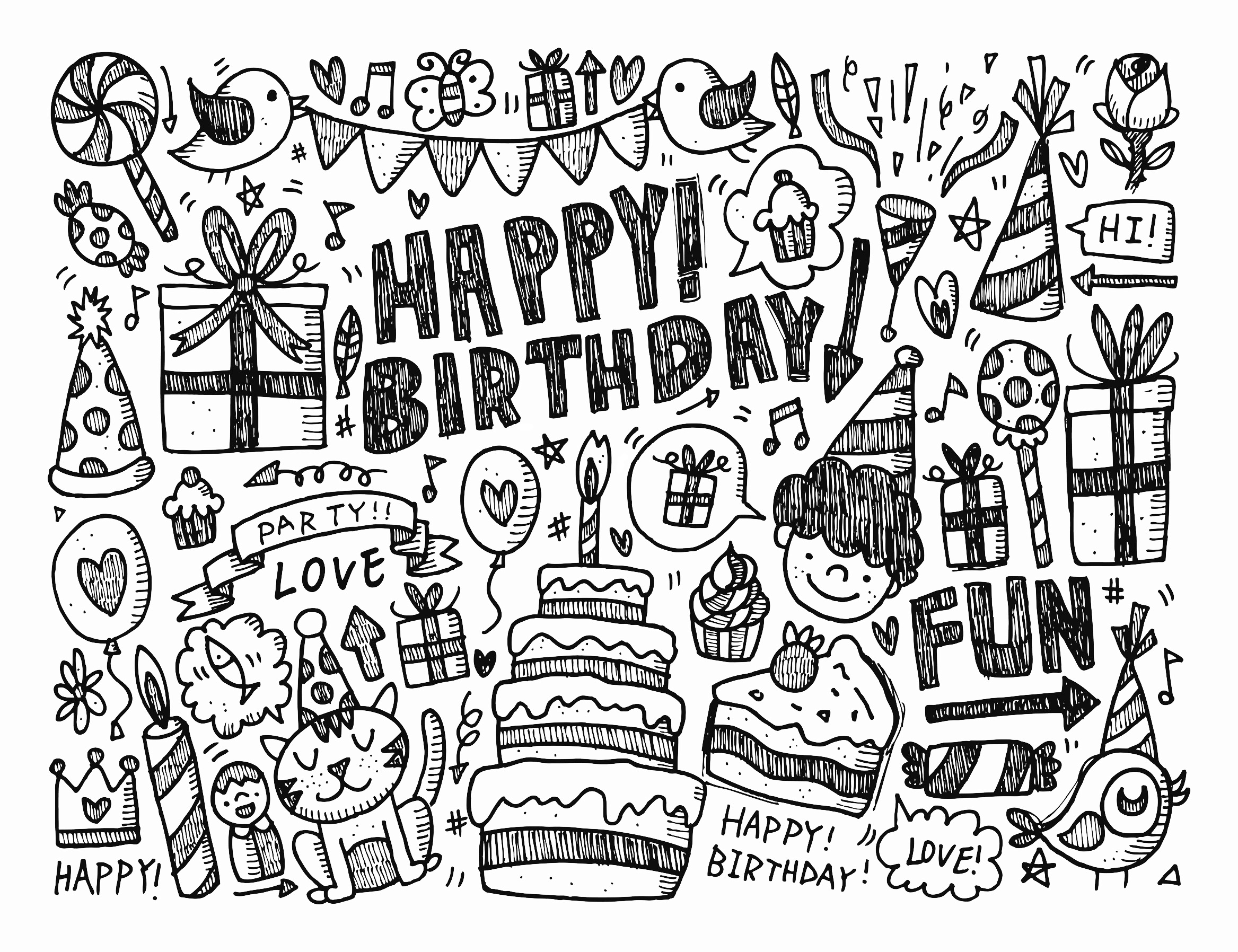 Doodle happy birthday - Doodle art Adult Coloring Pages
