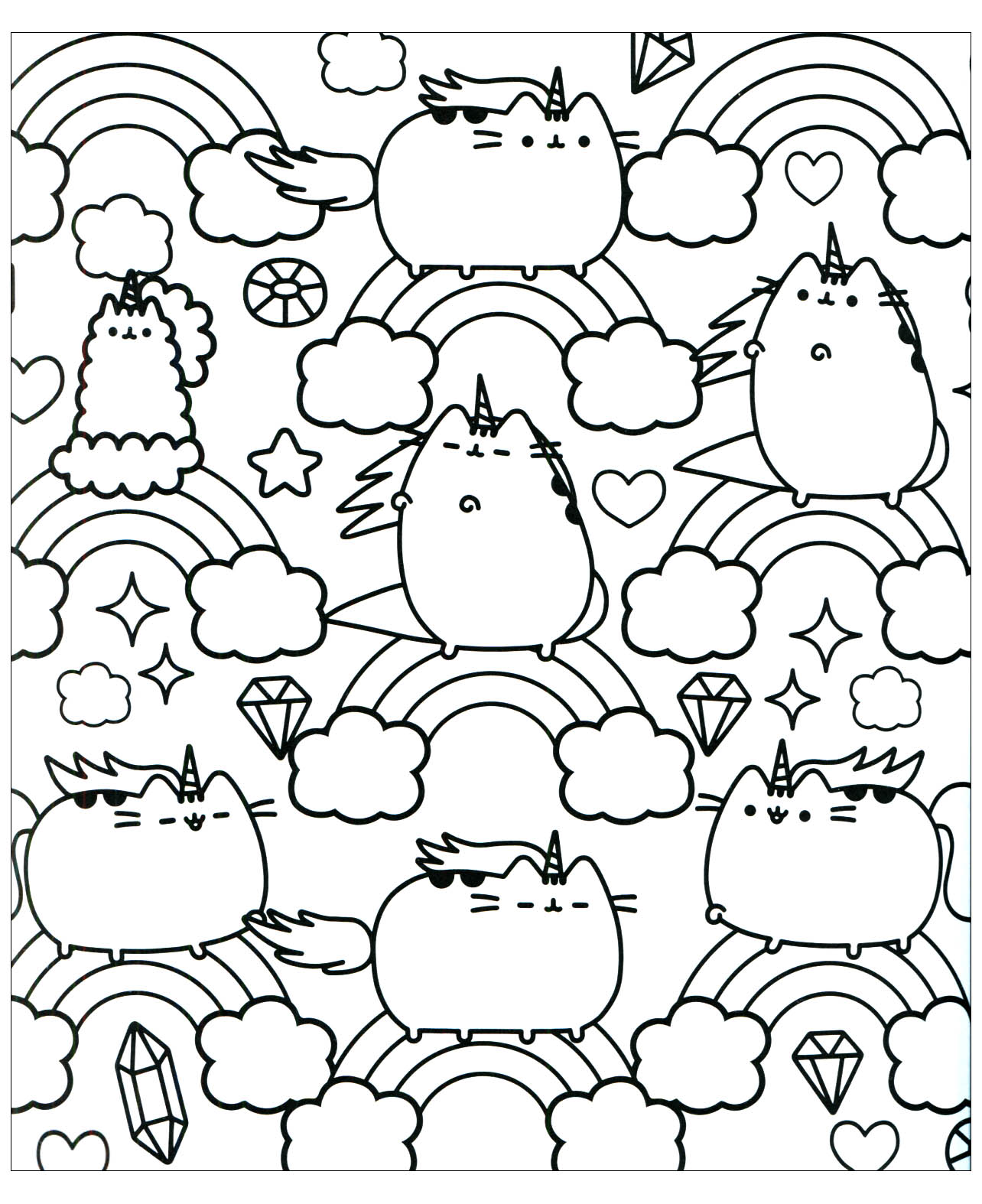 Pusheen Coloring Pages For Adults