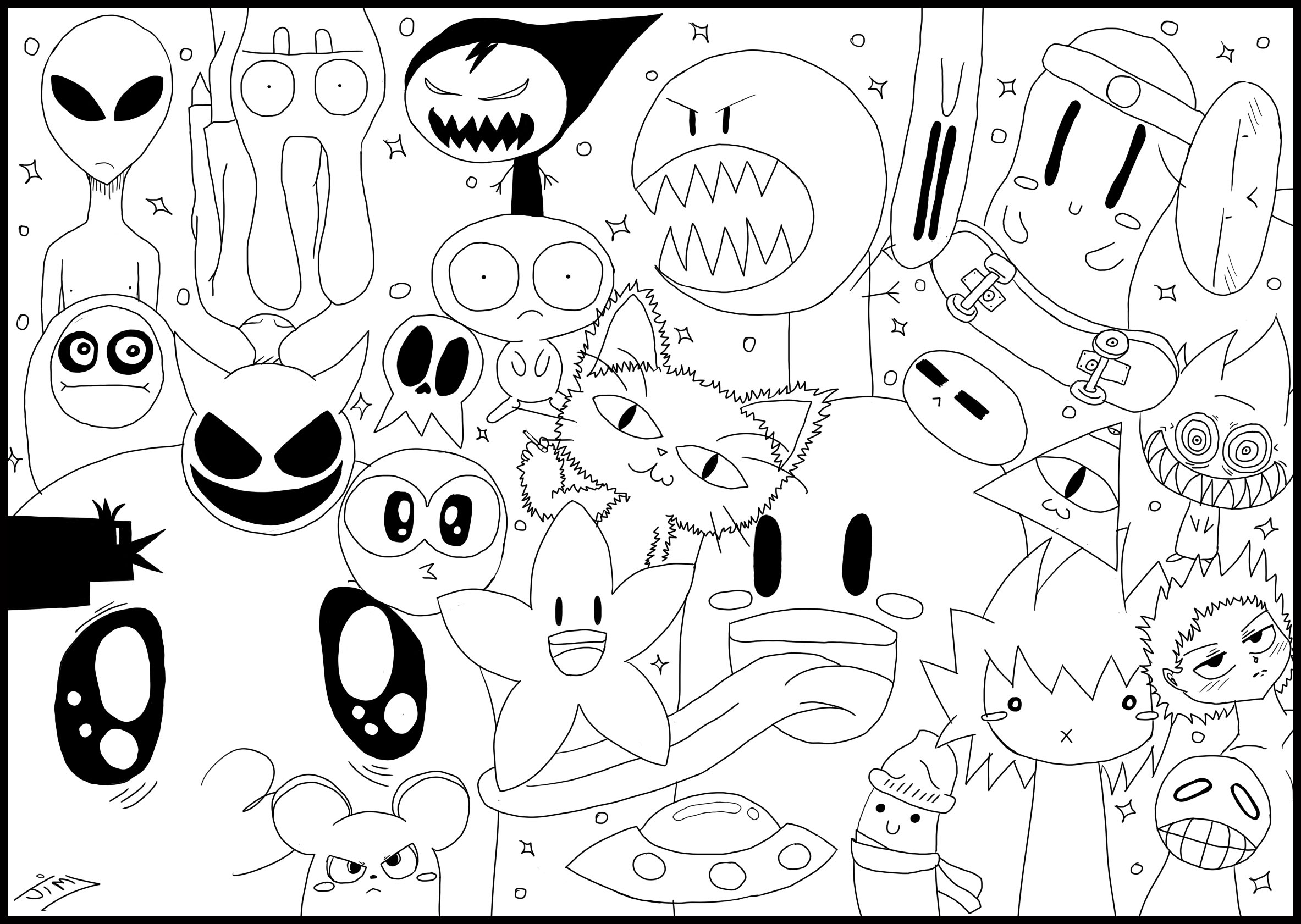 A doodle drawing, with funny kawaii monsters and animals