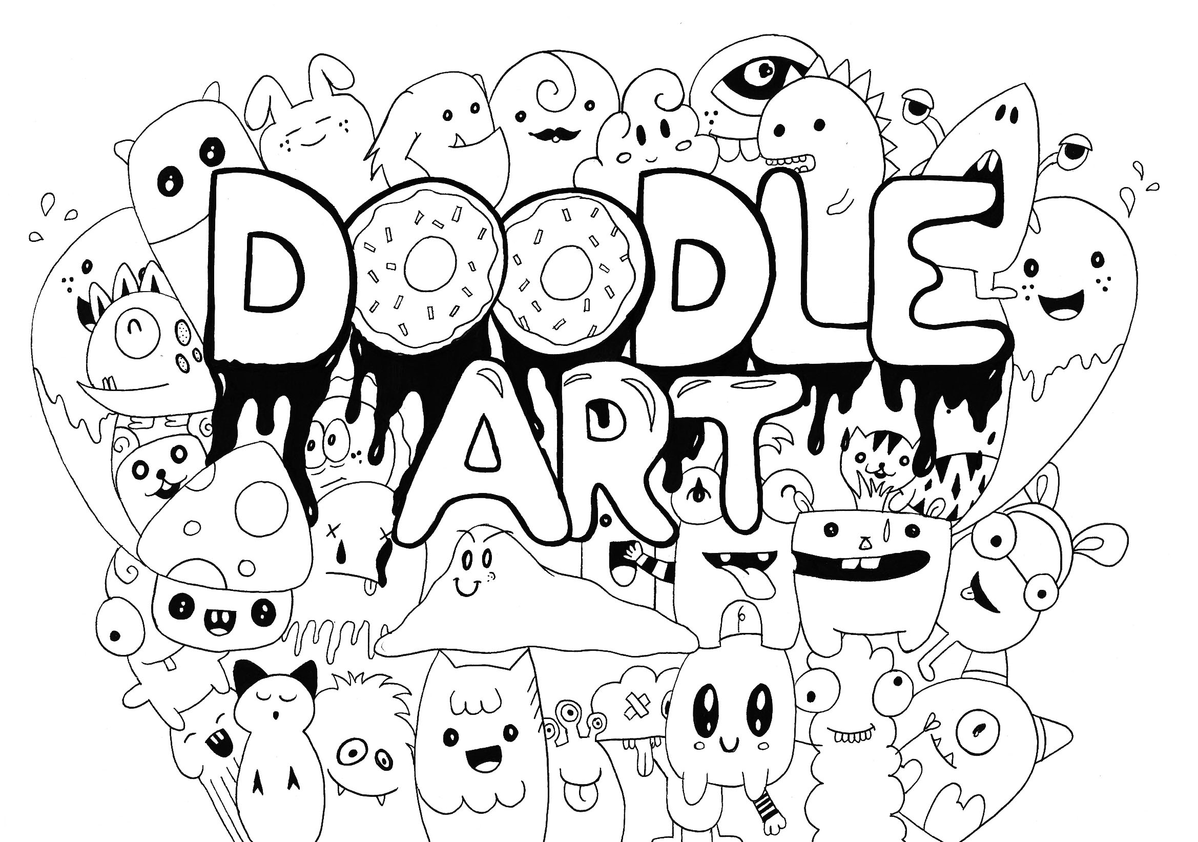Kawaii characters, gathered in a coloring page entitled 'Doodle Art'