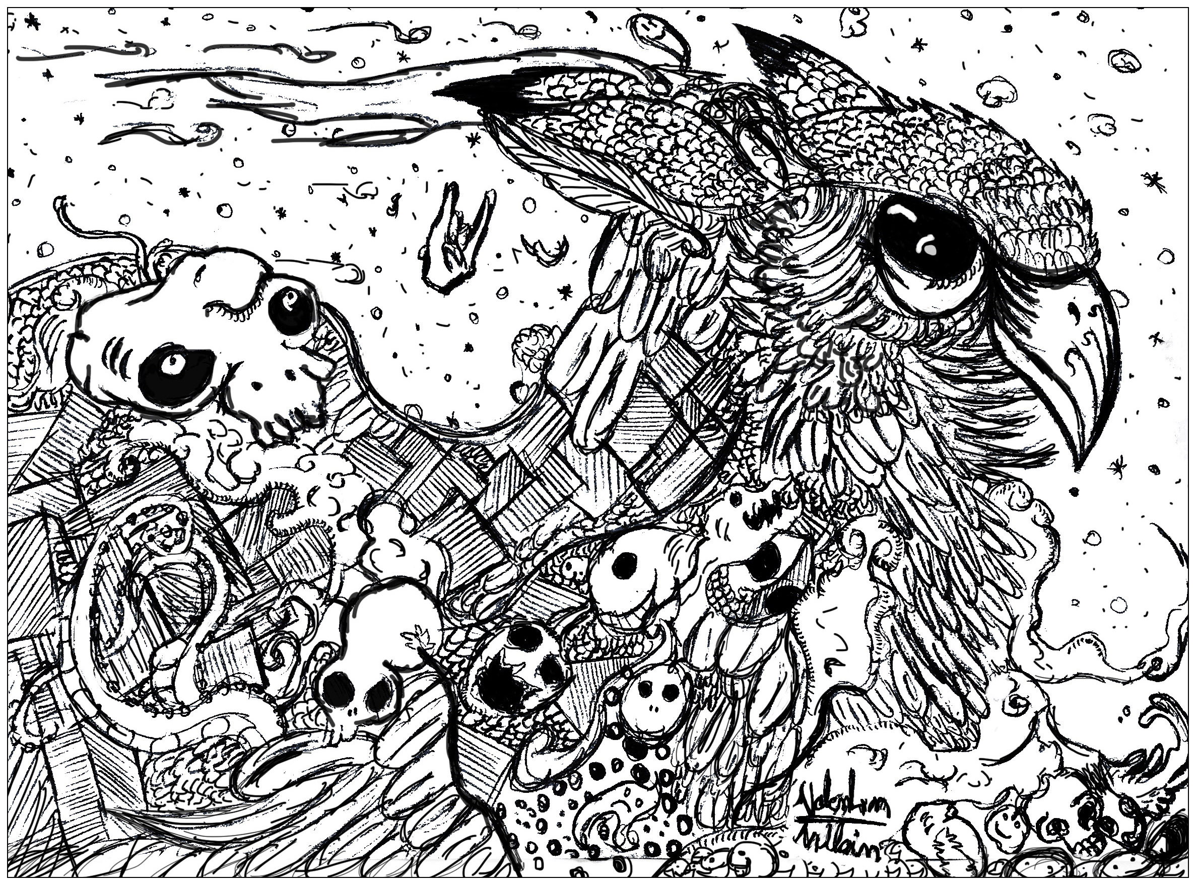 Doodle Valentin Hibou