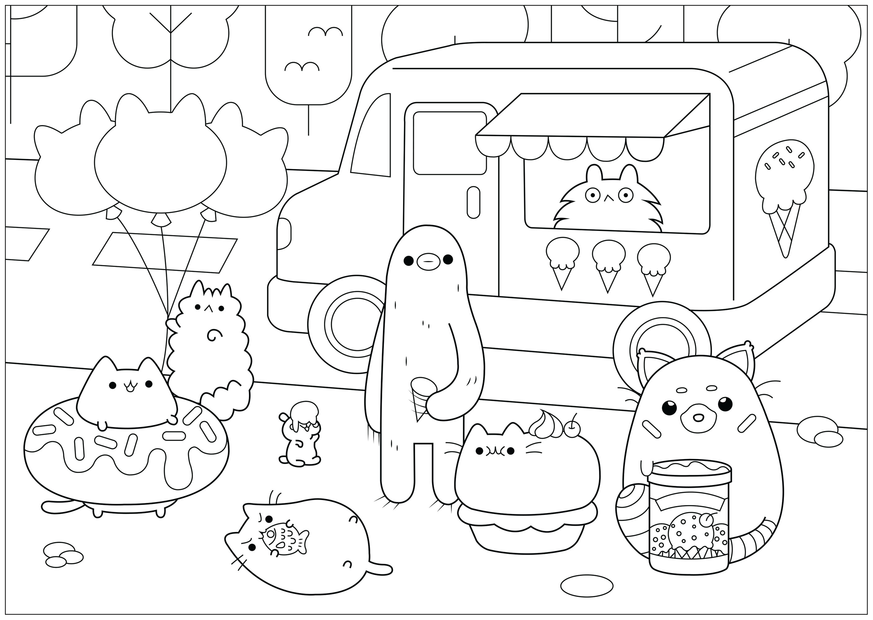 A cute Ice cream shop in the kind world of Pusheen. Eat ice creams with them !