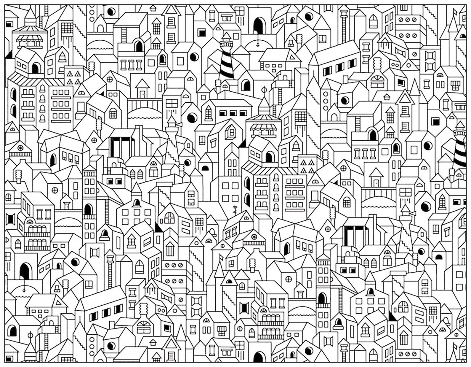 Doodle city buildings doodle art doodling adult coloring pages page 3