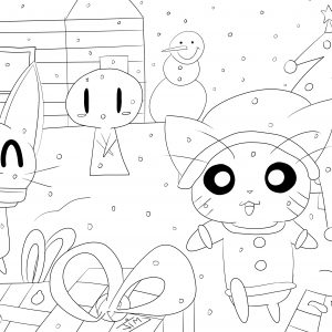 coloring page adult christmas in cartoon world