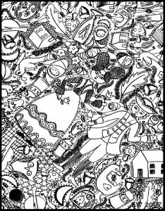 Coloring doodle art doodling 4