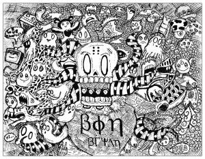 Coloring strange doodle by bon arts