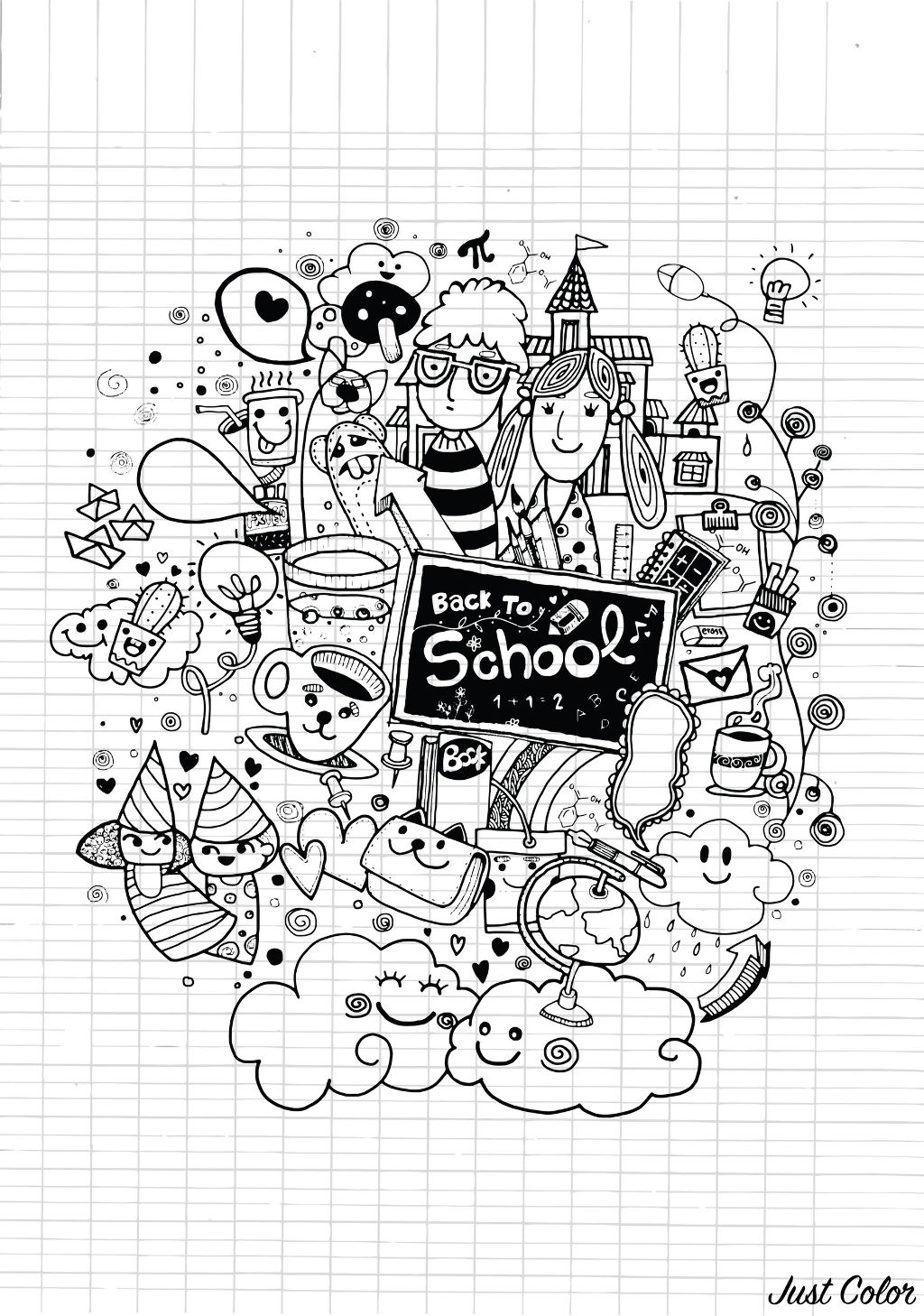 Doodle to color : 'Back to school', with funny and kawaii characters