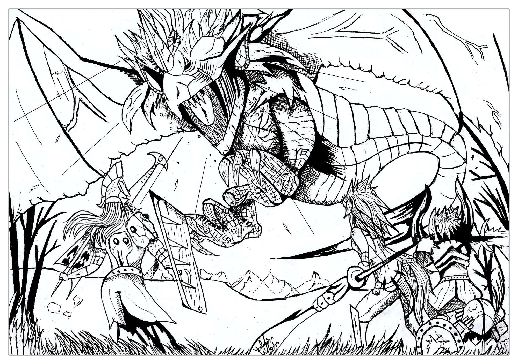 a coloring page inspired by video games monster hunter and dragon rathian